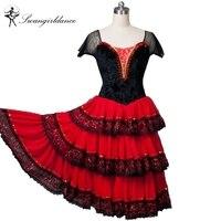 Для Взрослых Красный черный Испанский Романтический балетная пачка платье женщины коррида профессиональная балетная пачка сценические ко