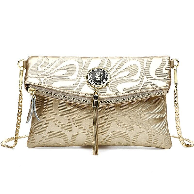 Portafoglio donna Donne di Modo di disegno Dettaglio Catena Cross Body Bag sacchetto di Spalla Delle Signore pochette bolsa franja borse da sera di lusso