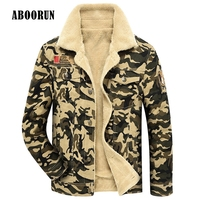 ABOORUN 2017 Military Mens Jackets And Coats Male Khaki Camouflage Warm Fleece Coat Outerwear For Winter