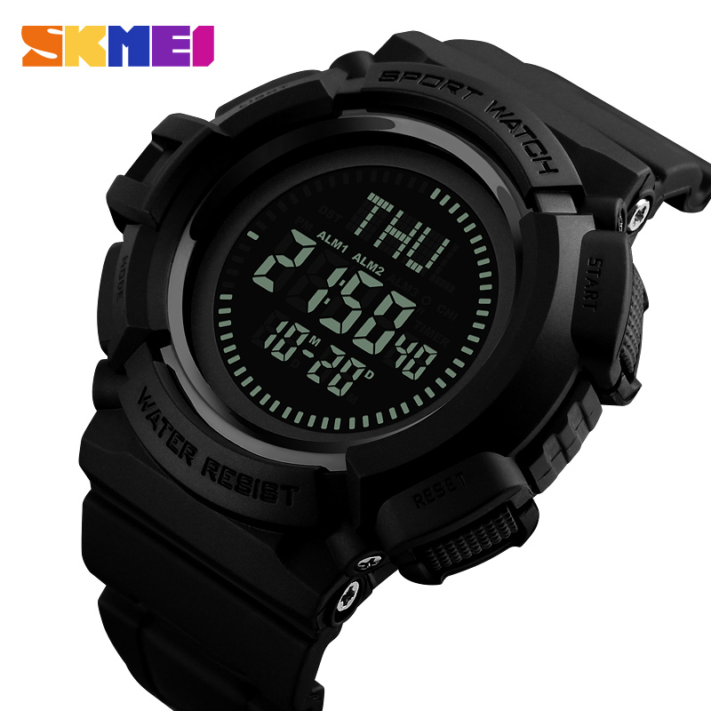 SKMEI Compass Outdoor Sports Watches Men Countdown Chronograph Alarm Watch Waterproof Digital Wristwatches Relogio Masculino все цены