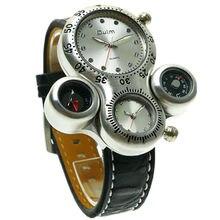 Army men cool 2 zona horaria deportes diseño hombres de negocios correa de cuero militar reloj de pulsera oulm doble movimiento de cuarzo de japón