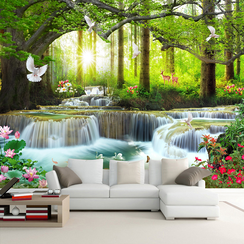 Custom Mural Wallpaper 3D Nature Landscape Forest Waterfalls Photo Wall Painting Living Room TV Sofa Backdrop Wall 3D Home Decor