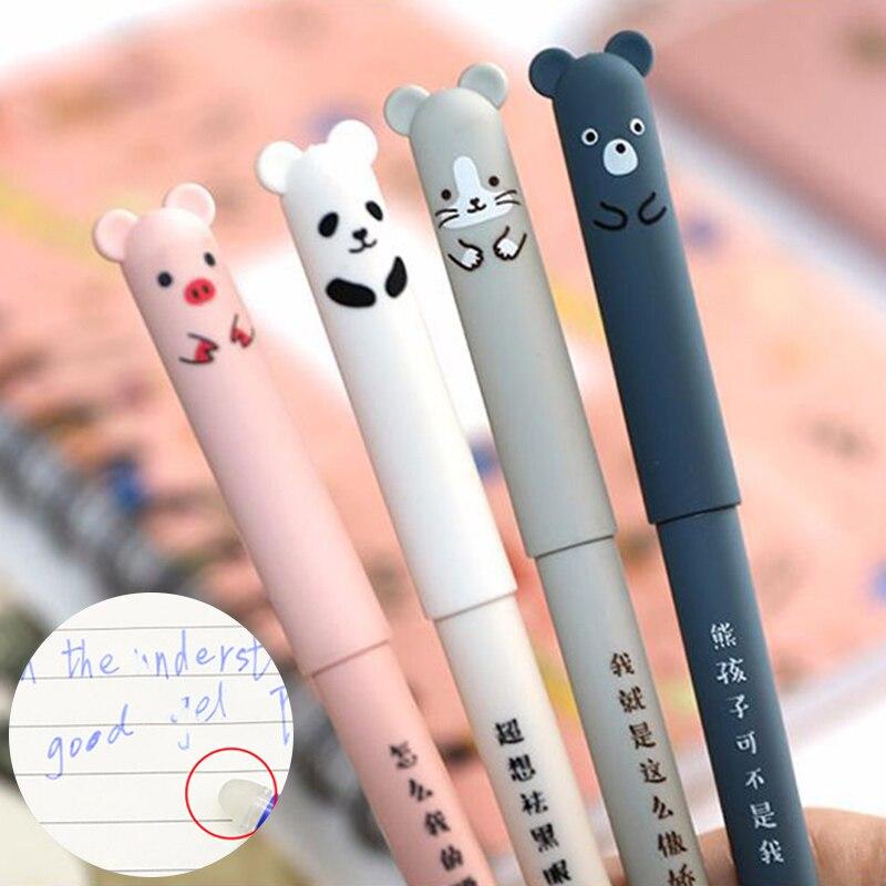 1PC Cute Cat Erasable Pens Kawaii Cartoon Magic Ballpoint Pens For Kids Girls Gifts School Writing Supplies Novelty Stationery