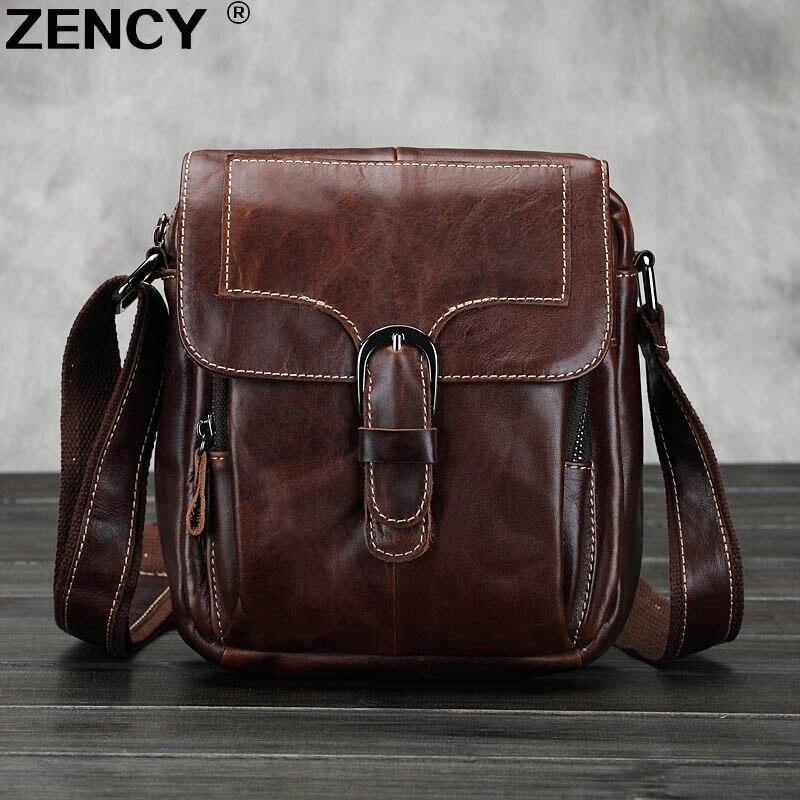 2018 Vintage ZENCY Famous Brand Genuine Real Oil Wax Leather Men Shoulder Messenger Bags Crossbody Handbag Purse zency brand genuine oil wax cow leather men chest bag shoulder bags