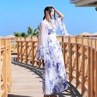 MX NEWSpring Лето Для женщин Богемия v образным вырезом Цветочный принт Повседневное свободные Винтаж кимоно Вышивка кисточкой пояс шифоновое ма