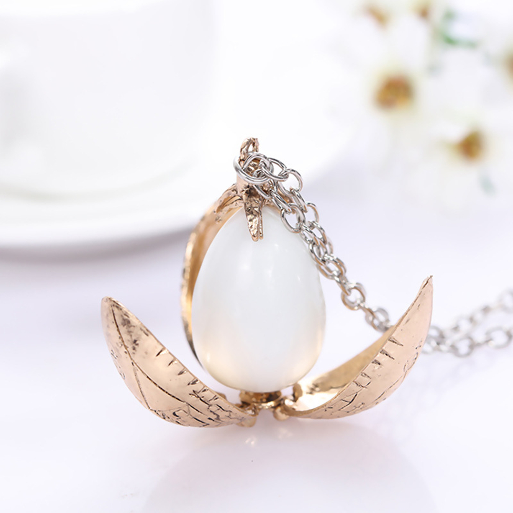 Harri Potter The Goblet Of Fire Dragon Egg Pendant Necklace Vintage Cos Creative Chain
