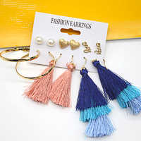 2019 New Aretes De Mujer Earrings Set Fashion Tassel Earrings Mixed Batch Crystal Pearl