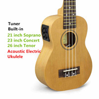 Soprano Electric Ukulele 21 Inch Mini Hawaiian Guitar 4strings Ukelele Guitarra Handcraft Wood White Guitarist Free