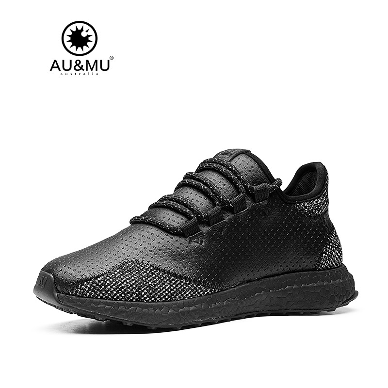 2018 AUMU Australia Leather Patchwork Woven Casual Sneakers G109 2018 aumu australia rhinestone shiny