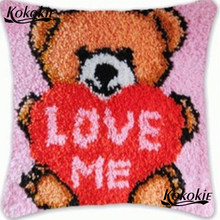 Latch hook rug kit bear diy Needlework carpet mat Crocheting Kit Rug Yarn 3d cushion blanket Handmade Embroidery Pillowcase(China)