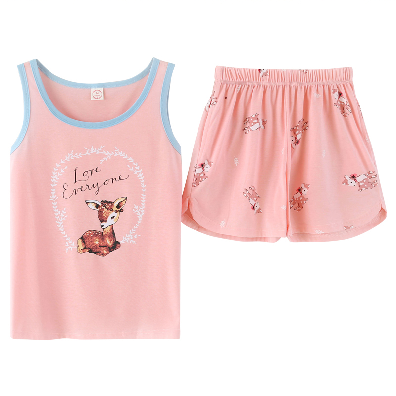 Summer Sleeveless Sleepwear Women Cotton   Pajamas     set   Female Pyjamas Home clothing Big Size M-2XL Vest Pyjamas
