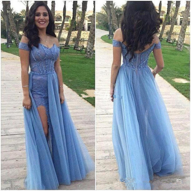 Robe De Soiree Blue Off the Shoulder Long Prom Dresses with Split ...