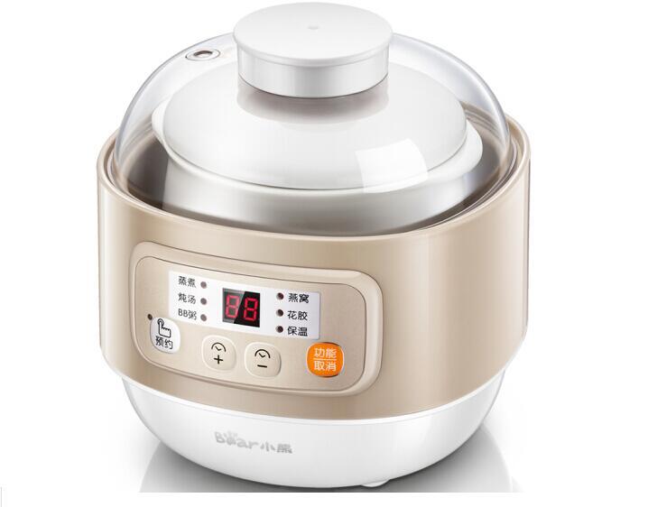 bear HOUSEHOLD min electric SLOW cooker DDZ A08D1 Ceramic liner 0.8L breakfast machine porridge stew soup egg HOME baby food|Slow Cooker Parts| |  - title=
