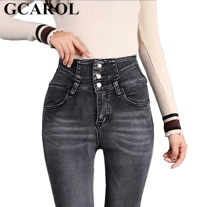 b5d47176c36 GCAROL Новая коллекция джинсы с высокой талией 3 пуговицы стрейч узкие  женские джинсы узкие брюки в