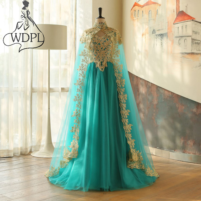 Elegant Green Arabic Evening Dresses With High Neck Applique Floor ...