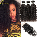 Brazilian Ocean Wave Hair Bundles With Closure Cheap Virgin Brazilian Hair Wet And Wavy Human Hair With Lace Closures Water Wave