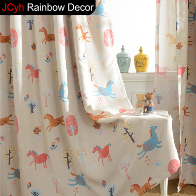 JRD Cartoon Boys Girls Bedroom Blackout Curtains Kids Living Room Cute  Horse Print Tulle Curtain Children
