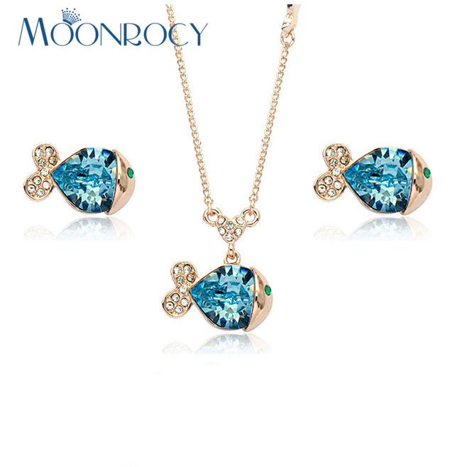 MOONROCY Free Shipping fashion Blue crystal necklace and earrings Jewelry set Zirconia Rose Gold Color Crystal Jewelry Set Gift