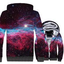 HAMPSON LANQE 2019 3D Hoodies Space Galaxy Hip Hop Winter Men Jacket Thick Warm Sweatshirts Long Sleeve Zipper Coat Brand Hooded