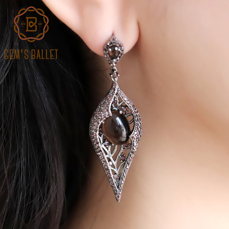 Long-Earrings Gem's Ballet Quartz 925-Sterling-Sliver Coffee Gothic Vintage Women Natural title=