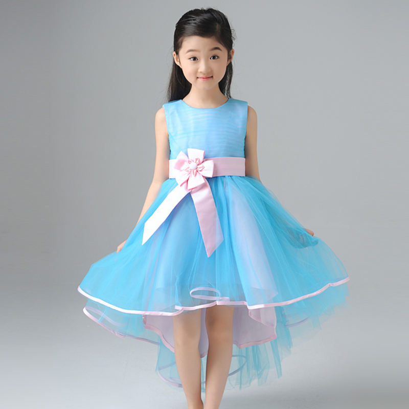 1-12Y royal princess dress O-neck sleeveless girls pageant dress for party costume short front long back flower gir dress