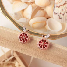 925 silver needle Stud earrings Grapefruit crystal white stone Women's fashion jewelry wholesale 1 pair 6mm strawberry crystal ball stud earrings 925 silver needle hypoallergenic birthday lucky stone spring ear jewelry