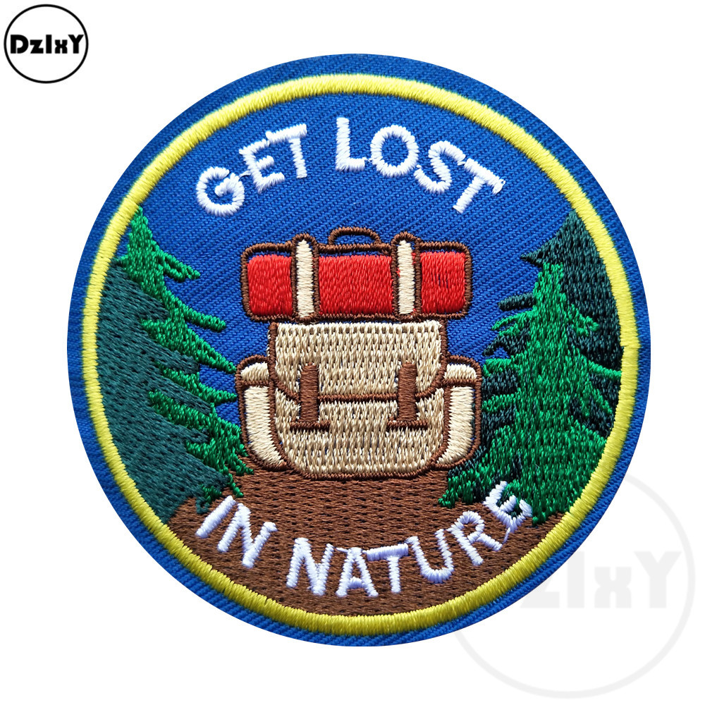 1 PCS Carriage Round Embroidery Patches For Stripes On The Backpack Stickers On Fabric Iron On Clothes Forest Appliques @F-96