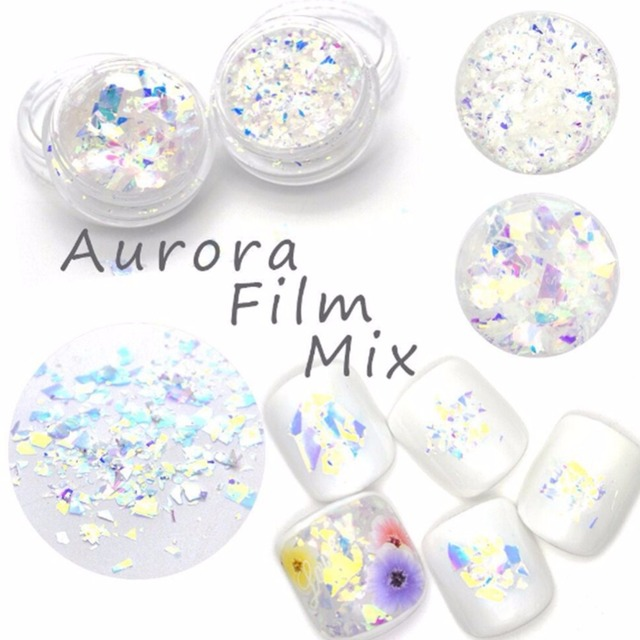 2g box Candy Flakes Nail Arts Holographic Powder Aurora Film Mix Laser Diamond Seashell Nail Flakies for UV Gel Nail Accessories