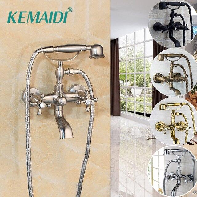 KEMAIDI 2 fonctions robinets de baignoire robinet salle bain mitigeur mural  Kit tête douche à main ensembles