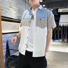 Trendy Men Shirt Hit Color Patchwork Short Sleeve Shirt Pocket White Gray Khaki Blue Men Shirt Short Sleeve