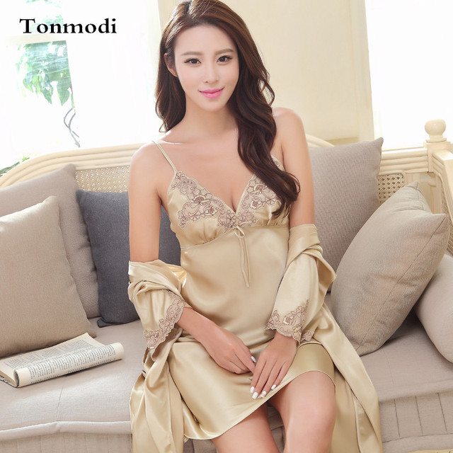Robe Set  For Women Spring Lace Silk Sling Gowns Nightdress Stitch V-neck Dressing Gown