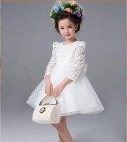 Kids Lace Princess Girl Communion Dress Baby Long Sleeved Bridesmaid Wedding Party Birthday Elegant White Big