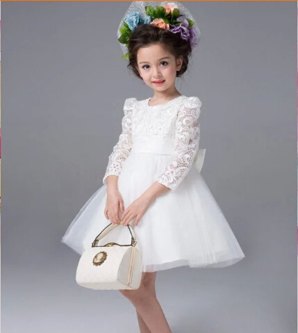 Kids Lace Princess Girl Communion Dress Baby Long-sleeved Bridesmaid Wedding Party Birthday Elegant White Big Bow Girls Dress girl lace long dress with sweet flower for age 3 7 baby kids princess wedding prom party white cream big bow long sleeves dress