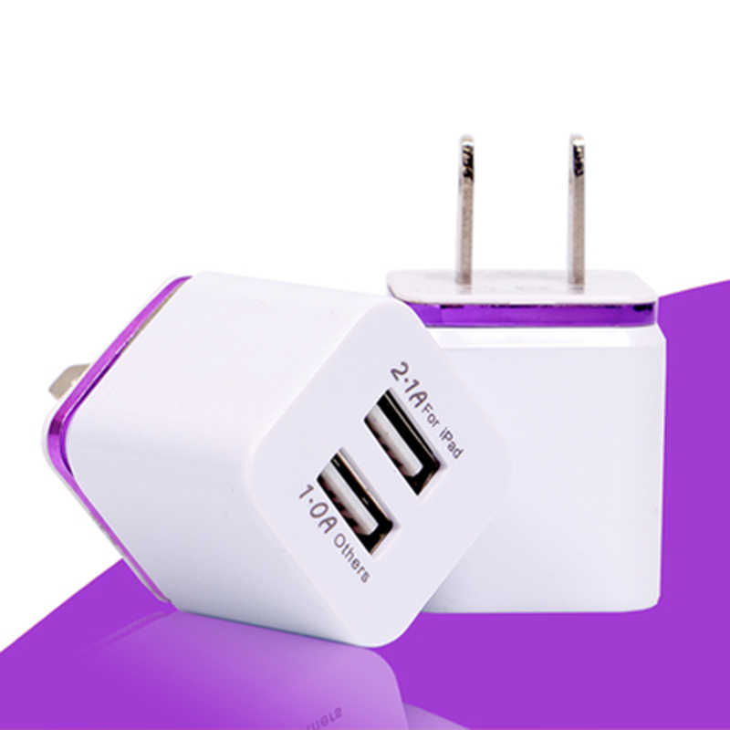 US Plug 5V 2.1/1A Dual USB AC Charger USB Dinding Power Adapter untuk iPad Iphone Samsung HTC ponsel