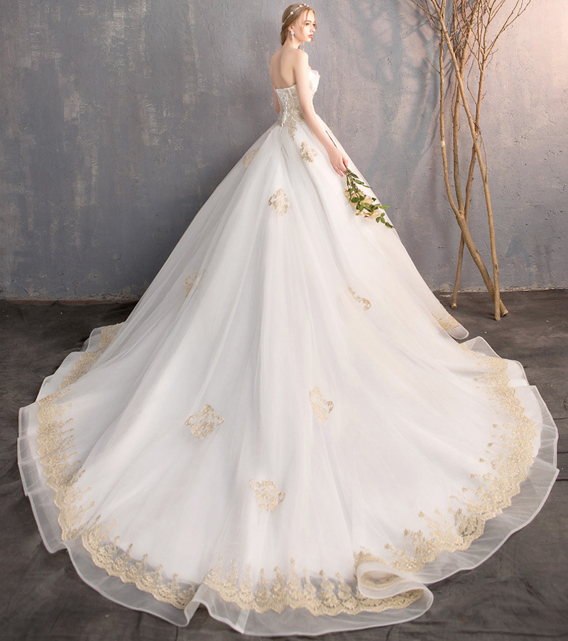 Luxury New Arrive Sweetheart Golden Lace Cathedral Train Wedding Dress For Bride Gowns Wedding Bridals Vestido De Noiva