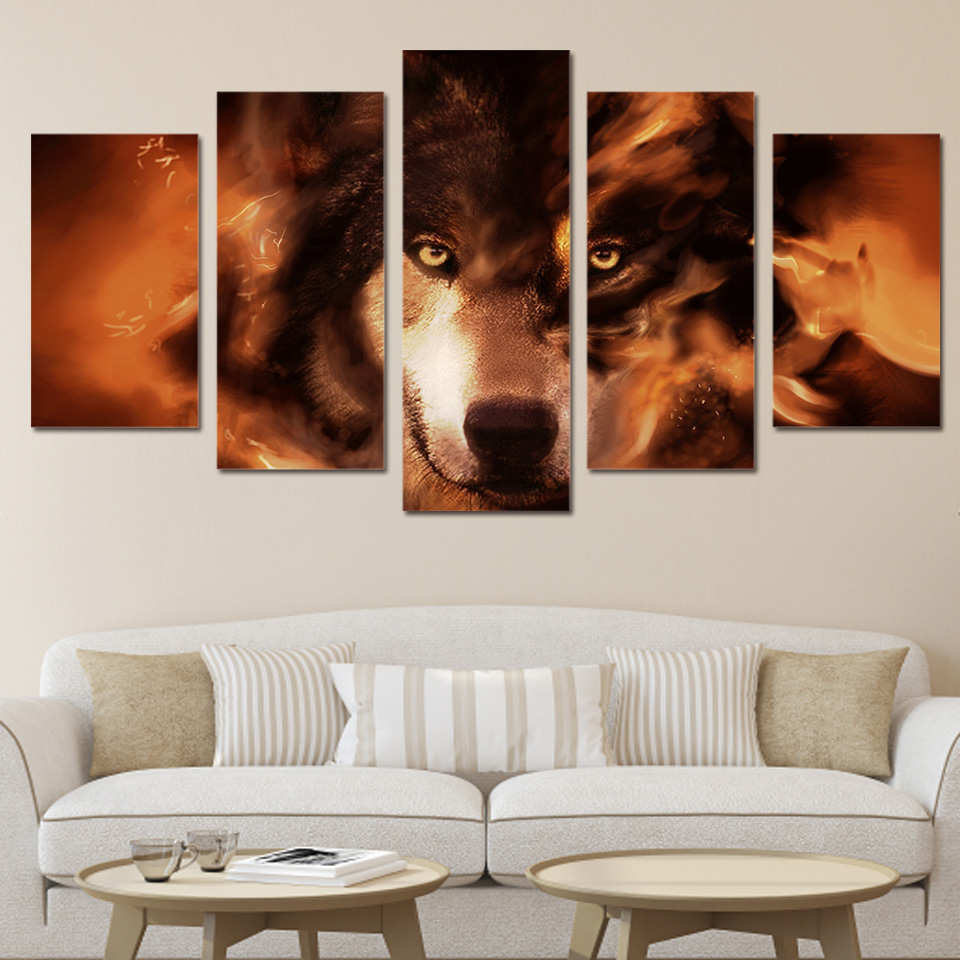 Home Decor HD Frame Tableau Modern 5 PiecesPcs Animal Wolf Painting Canvas Modular Print Wall Art Pictures For Living Room
