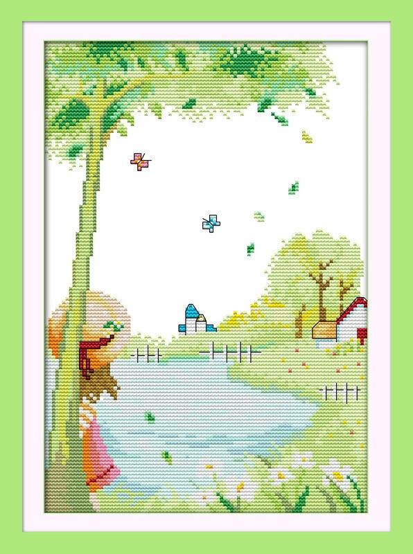 ᗕAmbiente rural impreso en lienzo DMC contado chino cross stitch ...