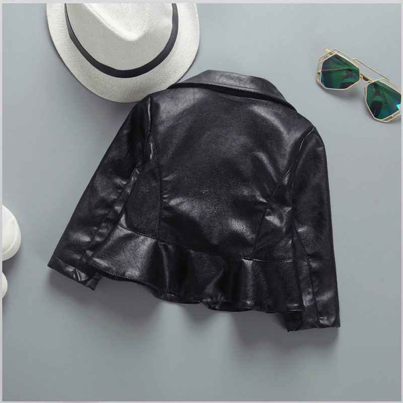 Для девочек на осень одежда для малышей Модные фирменные костюмы PU кожаная куртка Верхняя одежда для девочек одежда для малышей наряды Slim Fit Куртки пальто