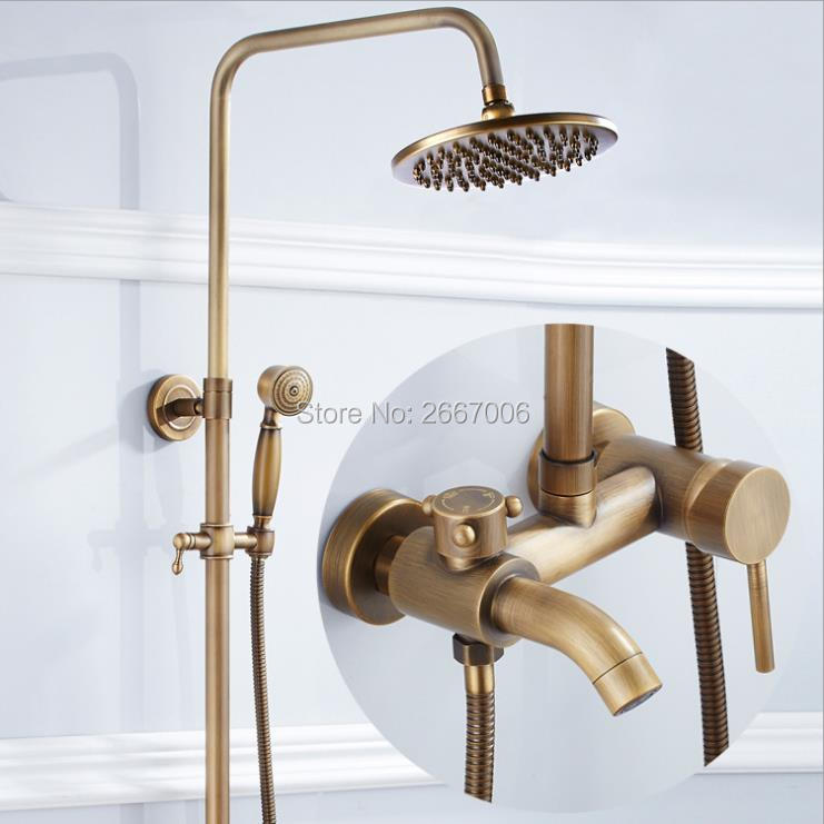 Free shipping Hot Sale Gift Bathroom Wall Mount Shower Set With Rainfall Shower Head Antique Brass