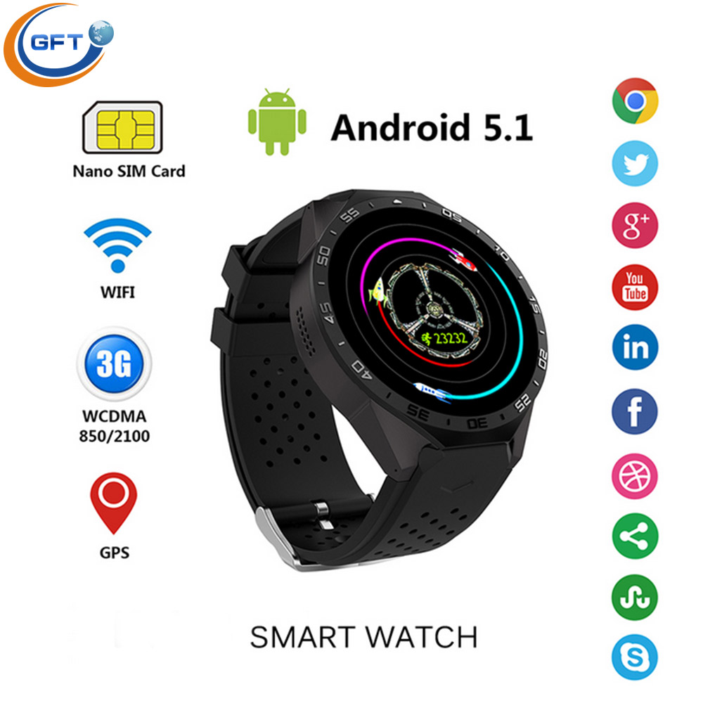 GFT KW88 3G wifi smart watch sim android 5 1 system with 512RAM 4G ROM men