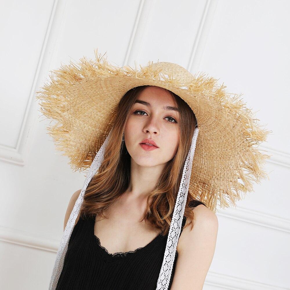 JIYOUOU cinta Rendas chapéu de palha arco grande grama feminino verão cap  viseira praia férias na praia de proteção solar ao ar livre chapéu  DobrávelUSD ... cbfbd54c249