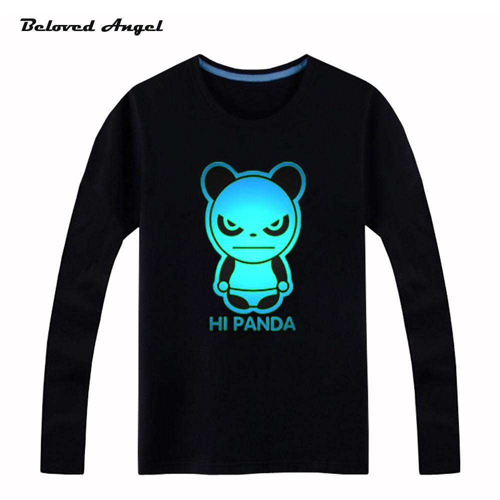Brand New Girls Boys T-shirts 100% Cotton Children Long Sleeve Tops Kids Hip Hop Neon Print Party Club Night Light Punk Top Tees 8