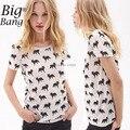 Женское T - рубашки улица лиса цифровой принт свободного покроя женщины T - рубашки лето короткая - рукав хлопок футболки белый M14120915