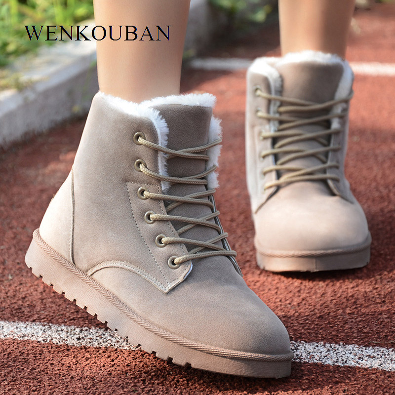 Warm Plush Shoes Women Winter Boots Shoes Fashion Ladies Ankle Boots Lace Up Snow Boots Women Suede Insole Black Botas Mujer women boots winter shoes female plush inside snow boots high quality flock ankle boots lace up flats women shoes botas fashion