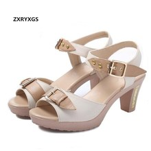 купить 2019 New Spell Colors Open Toe Women Shoes Summer Sandals Thick with High Heels Genuine Leather shoes Elegant Fashion Sandals дешево