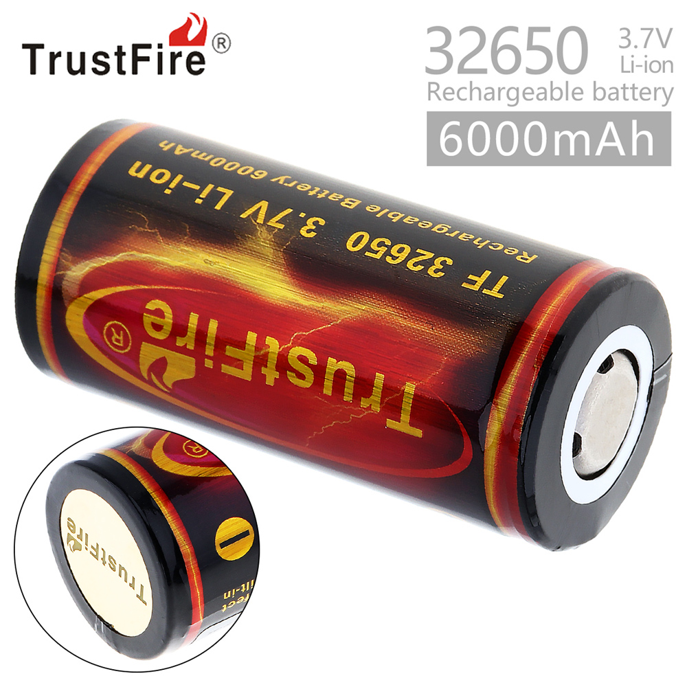 1pcs TrustFire <font><b>3.7V</b></font> <font><b>6000mah</b></font> 32650 <font><b>Battery</b></font> High Capacity <font><b>Li</b></font>-<font><b>ion</b></font> 32650 <font><b>Rechargeable</b></font> <font><b>Battery</b></font> with Protected PCB for Electric Toys image