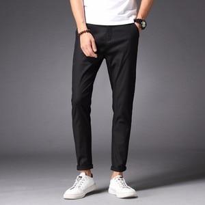 Image 5 - Брюки мужские повседневные, 98% хлопок, 2% спандекс, весна лето осень, белые модные длинные брюки Чино для молодых мужчин, узкие штаны