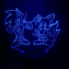 Game Sonic The Hedgehog 3D Lamp Bedside Home Decorative Kids Baby Gift 7 Color Changing Child LED Night Light Deco Maison