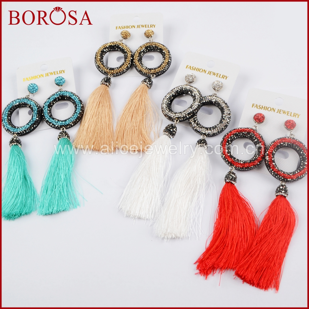BOROSA New Round Rhinestone Pave Crystal Gems Connector With Multi-color Long Tassel Earrings Druzy Retro Drop Earrings JAB778