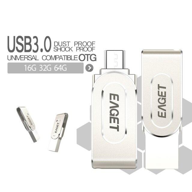 Eaget v88 otg usb 3.0 unidad flash usb smart phone tablet PC 16 GB 32 GB 64 GB pen drive pendrive de Almacenamiento Externo Para Android PC